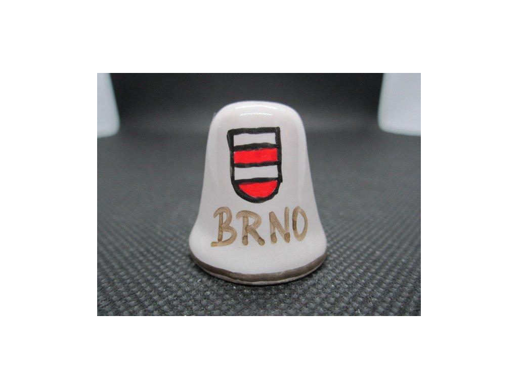 Sběratelský náprstek - Brno - znak, ruční malba, glazovaná keramika