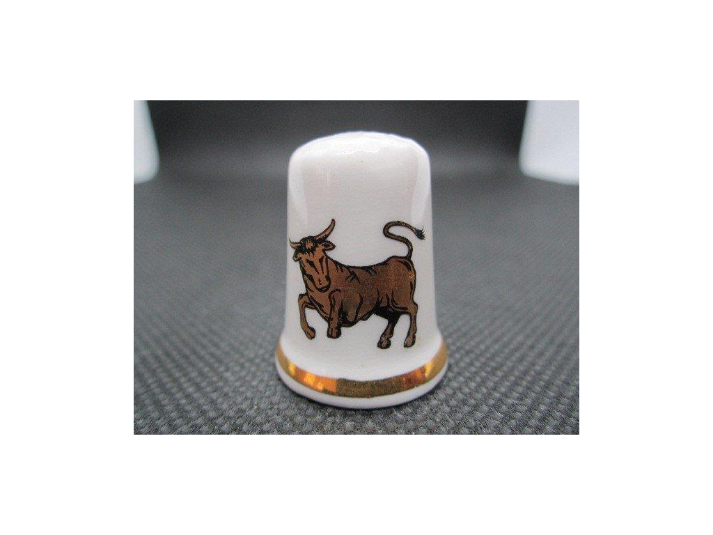 Sběratelský náprstek - Znamení zvěrokruhu - Býk, zlatý, Finsbury England