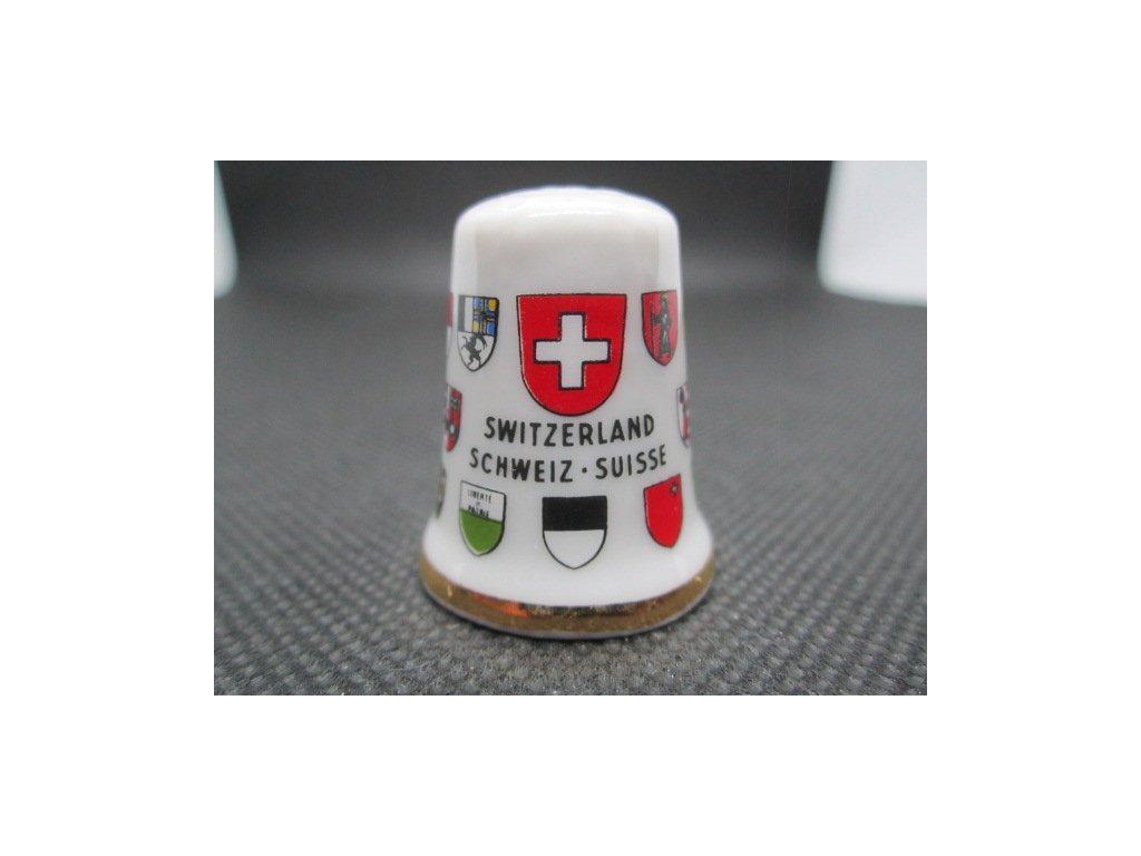 Sběratelský náprstek - Švýcarsko - znak a znaky kantonů, kolem dokola