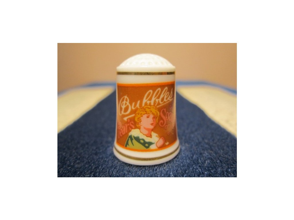 Sběratelský náprstek - Franklin Porcelain USA - Reklama 1982 - Bubbles Pear´s Soap, mýdlo