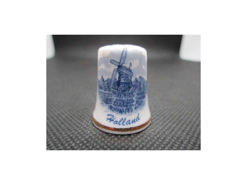 Sběratelský náprstek - Holandsko - modrý větrný mlýn