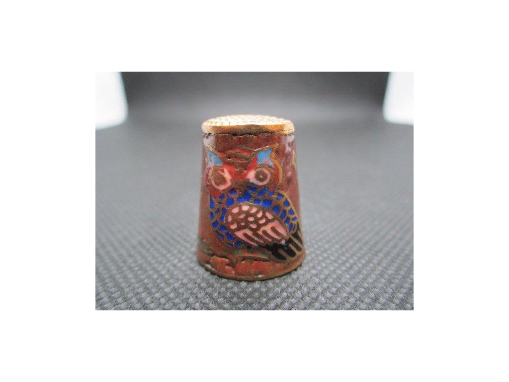 Sběratelský náprstek - Cloisonné - Sova tmavomodrá na hnědé