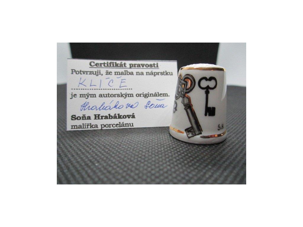 Sběratelský náprstek - Staré klíče - Hrabáková Soňa, s certifikátem, ruční malba