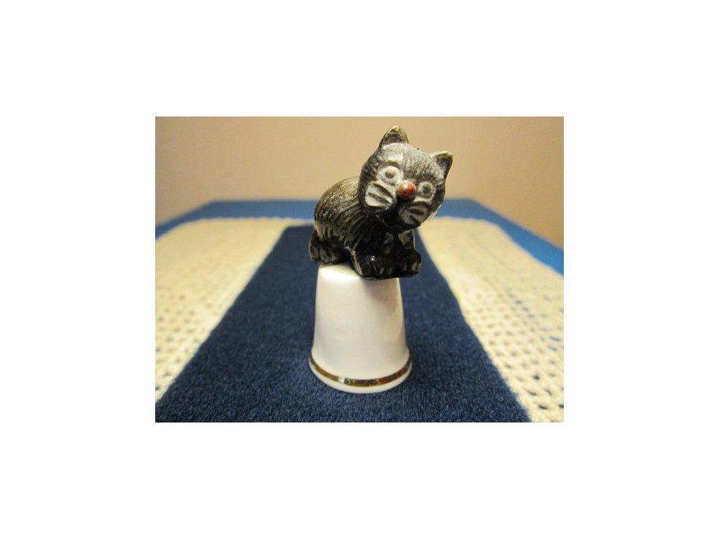 Sběratelský náprstek - 3D s černou kočkou z tvrzeného plastu