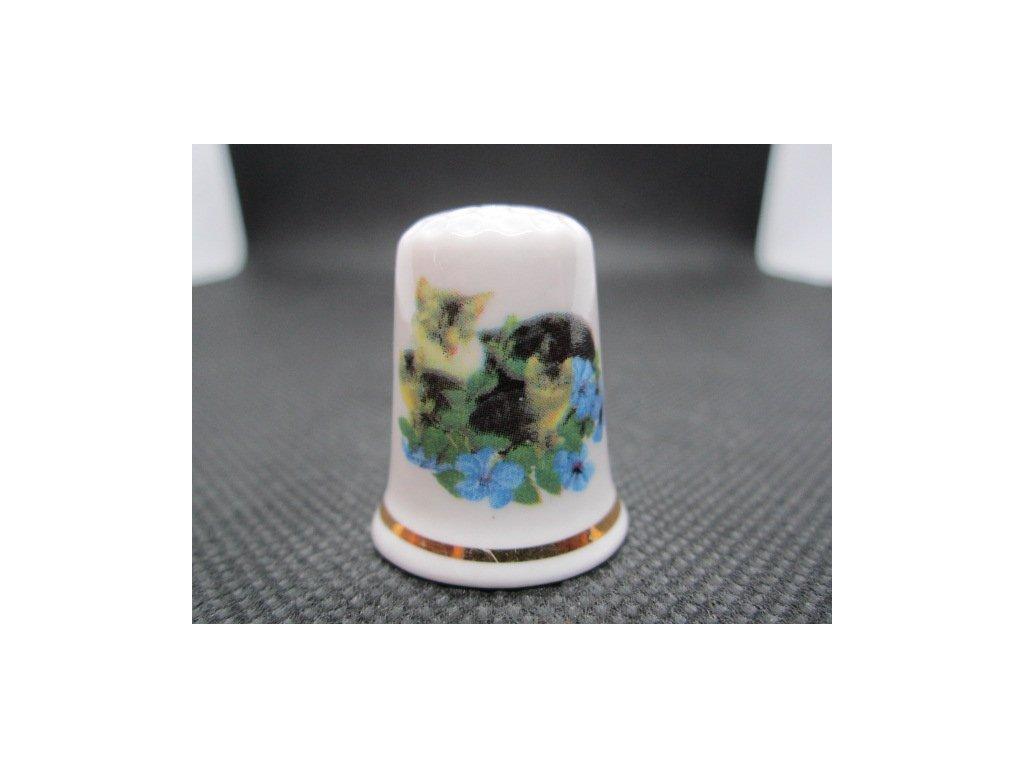 Sběratelský náprstek - Kočka s kotětem v modrých květech, Cottage Thimbles