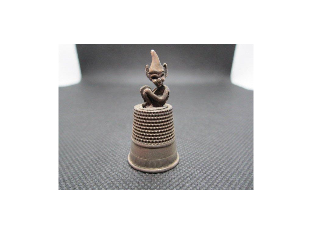 Sběratelský náprstek - 3D s cínovým Devonským skřítkem (Pixie)