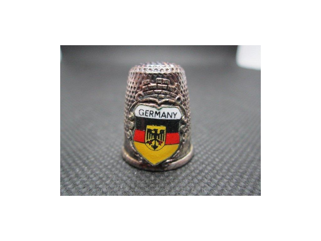 Sběratelský náprstek - 3D Německo - vlajka a znak, bílý kov s patinou