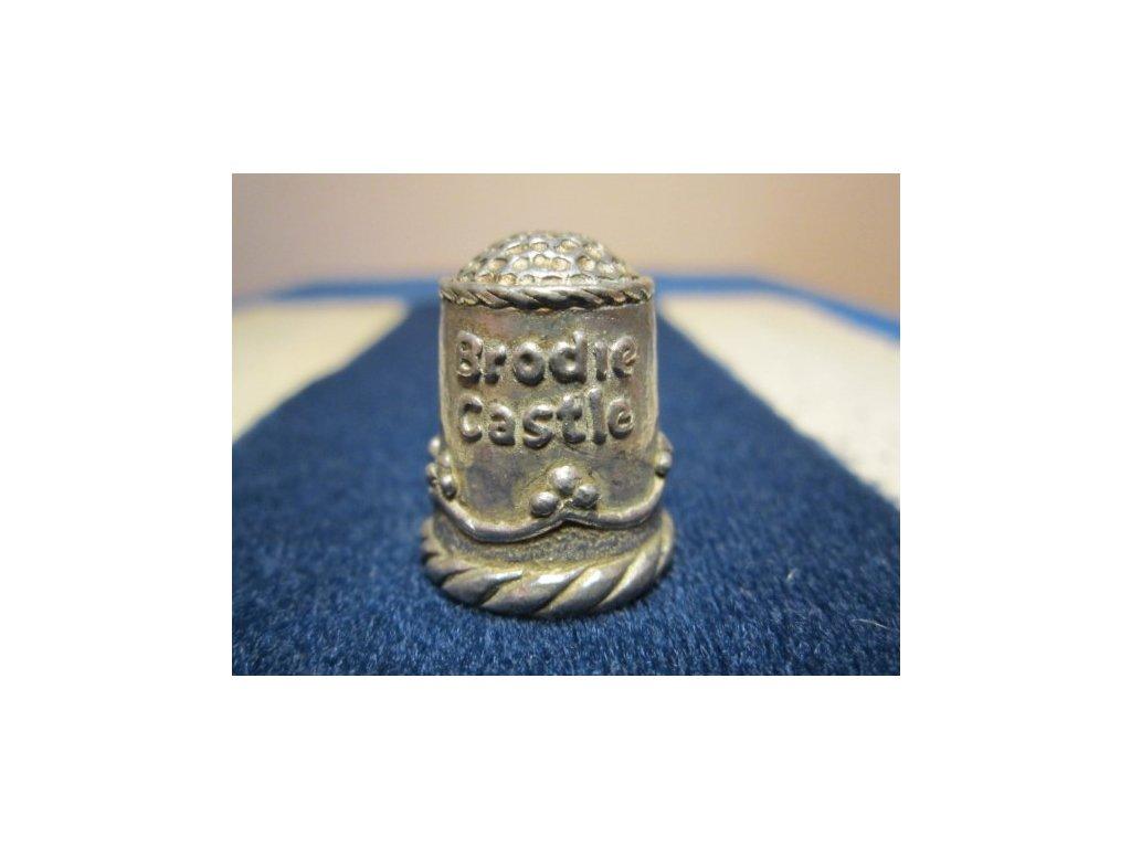 Sběratelský náprstek - 3D cínový - Skotsko, Brodie Castle, s narcisy