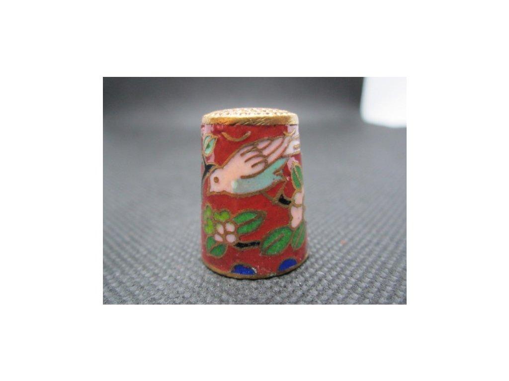 Sběratelský náprstek - Cloisonné - růžovomodrý ptáček a lotosový květ, na cihlové