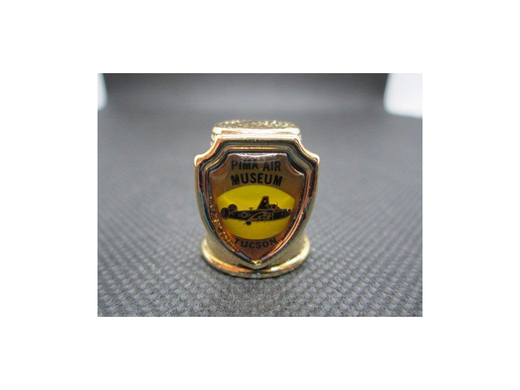 Sběratelský náprstek - 3D USA Arizona - Tucson, Pima Air Museum (letecké muzeum), žlutý kov