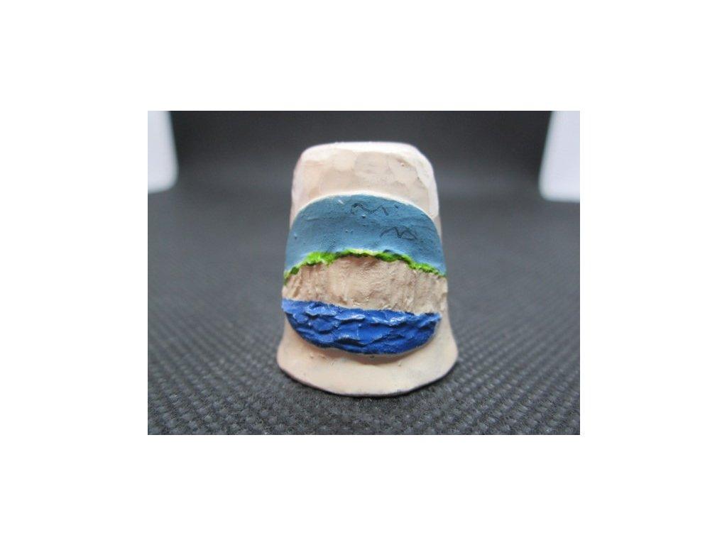 Sběratelský náprstek - 3D Anglie - White Cliffs of Dover, z křídy, ruční výroba a malba