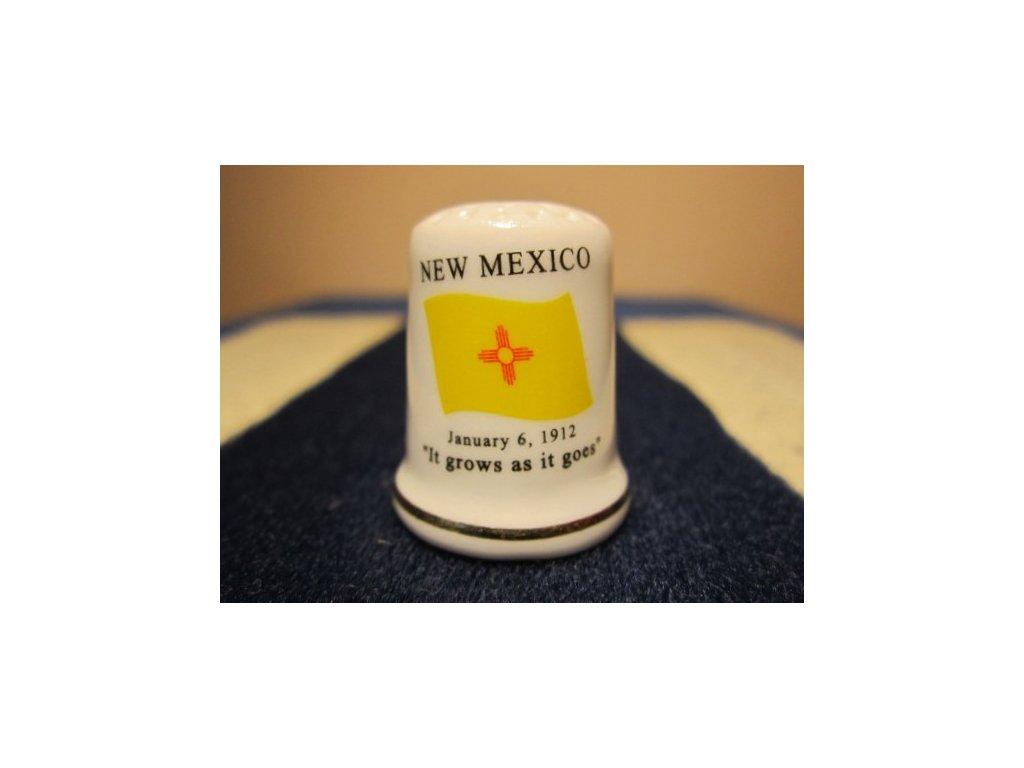Sběratelský náprstek - USA New Mexico - vlajka, motto, květ a pták státu