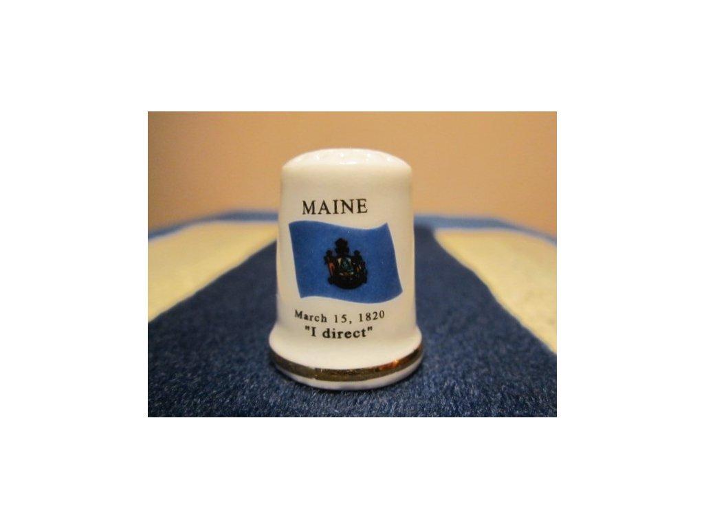 Sběratelský náprstek - USA Maine - vlajka, motto, květ a pták státu