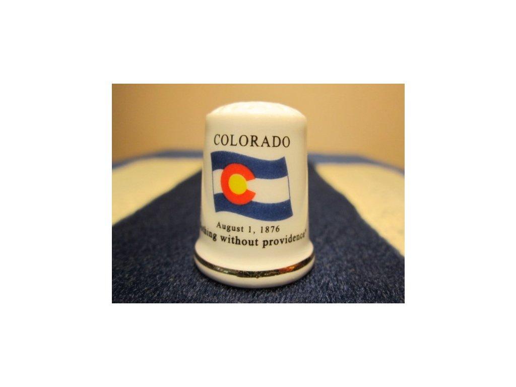 Sběratelský náprstek - USA Colorado - vlajka, motto, květ a pták státu