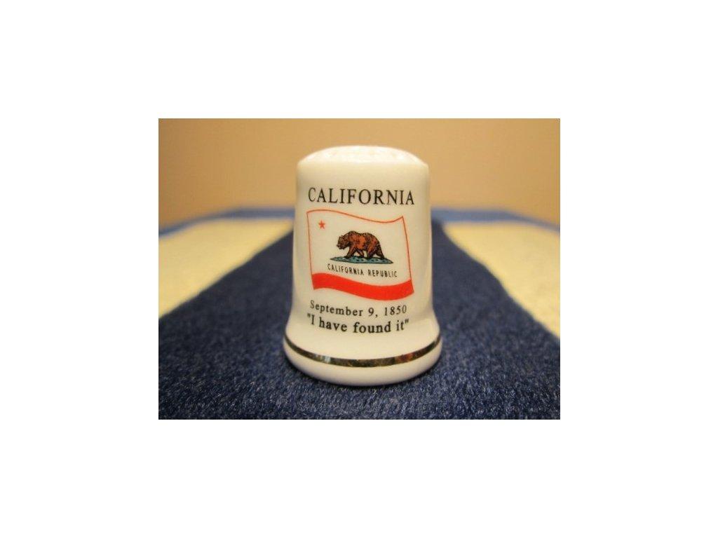 Sběratelský náprstek - USA California - vlajka, motto, květ a pták státu