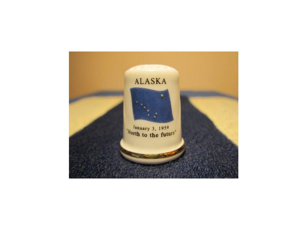 Sběratelský náprstek - USA Alaska - vlajka, motto, květ a pták státu