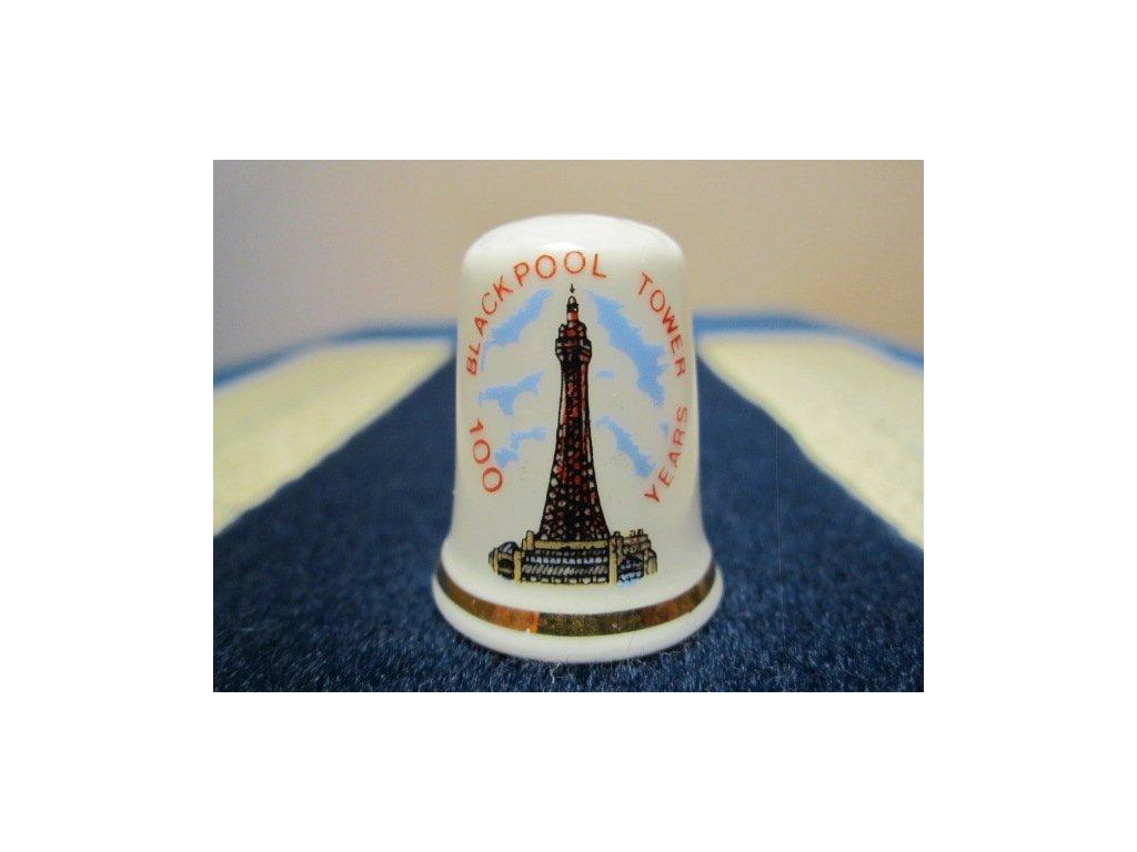 Sběratelský náprstek - Anglie - Blackpool, s popisem, 100 let výročí ocelové věže, vysoké 158 metrů inspirované Eiffelovou věží