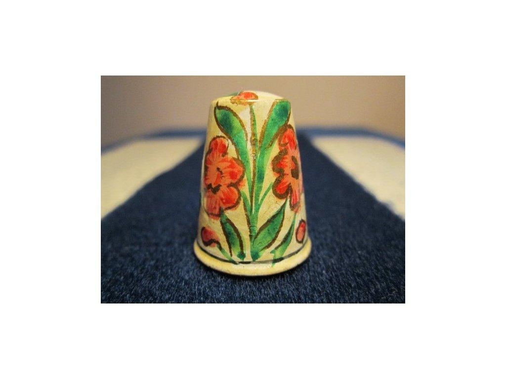 Sběratelský náprstek - Dřevěný - Indie, Paper Mache, s květy