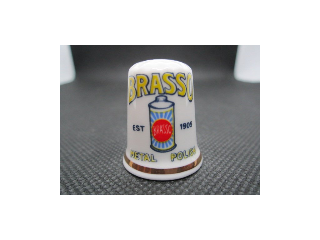 Sběratelský náprstek - Derby Thimbles England - Reklama BRASSO Metal Polish, čistič kovů