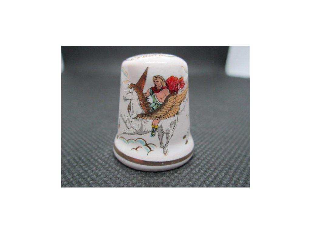 Sběratelský náprstek - Kypr - mytologie, s okřídlenými koňmi, bílý, glazovaná keramika