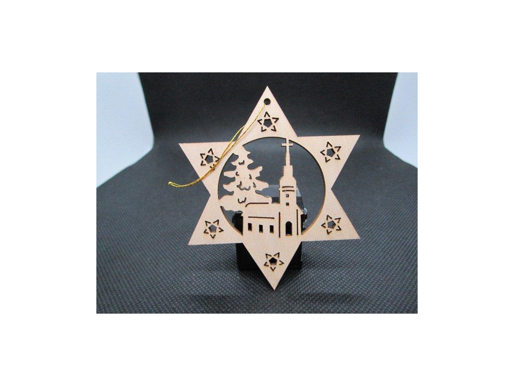 Sběratelský náprstek - Dřevěná vánoční ozdoba - kostelíček 2
