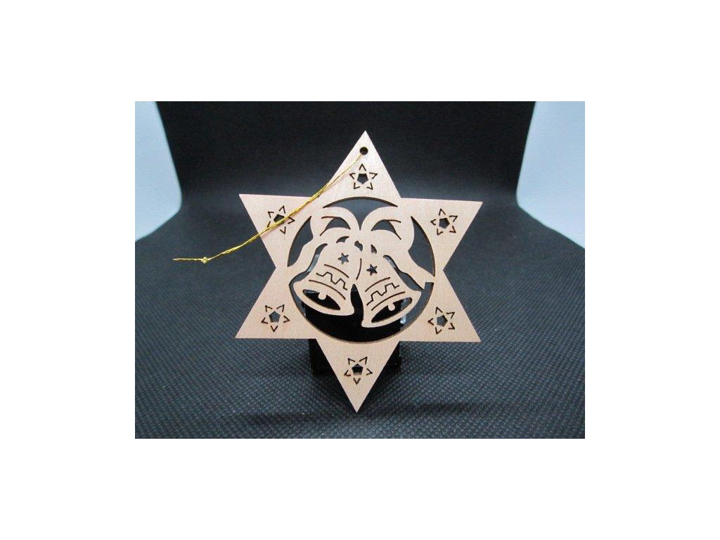 Sběratelský náprstek - Dřevěná vánoční ozdoba - zvonečky 2