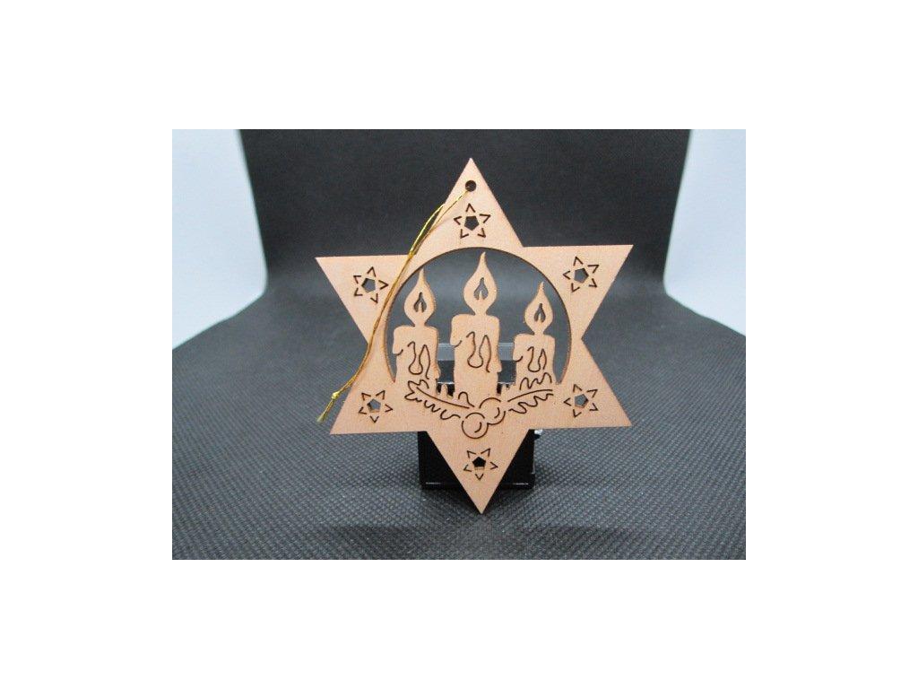 Sběratelský náprstek - Dřevěná vánoční ozdoba - svíčky s větvičkou cesmíny