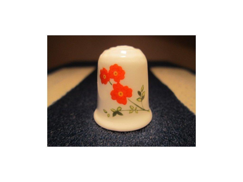 Sběratelský náprstek - Coalport England - růžové a červené květy, oboustranný