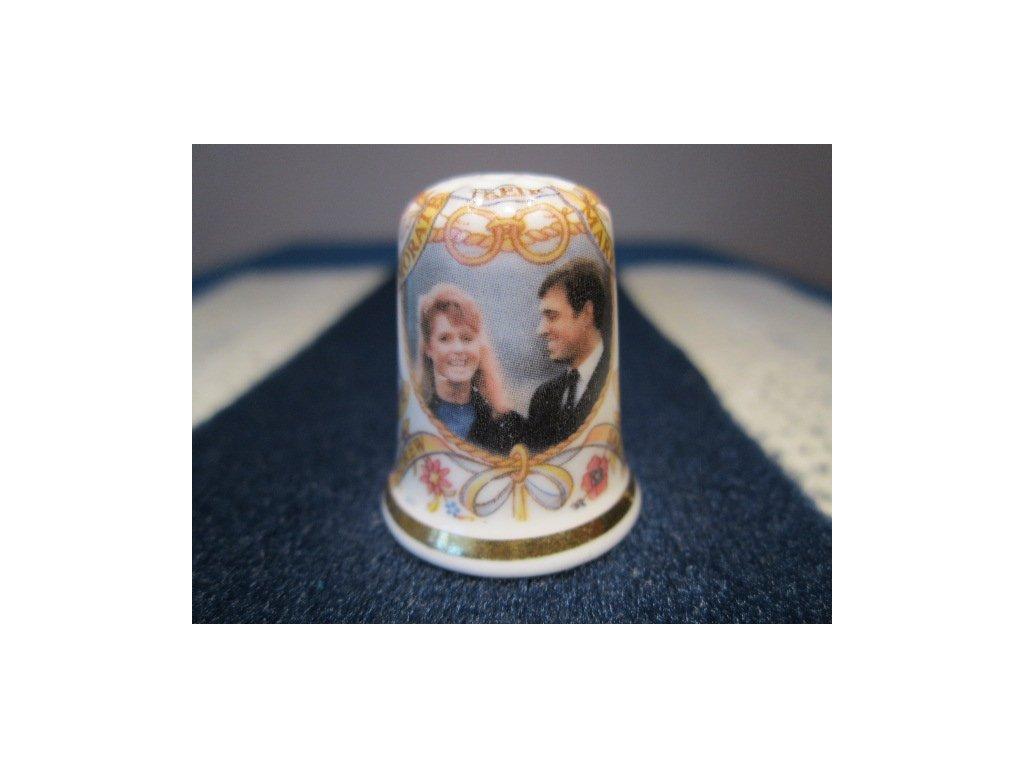 Sběratelský náprstek - Princ Andrew a Sarah Ferguson - svatba, se svatebními zvonky