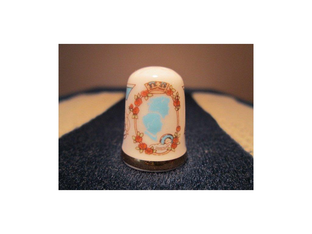 Sběratelský náprstek - Caverswall England, Princezna Beatrice narození