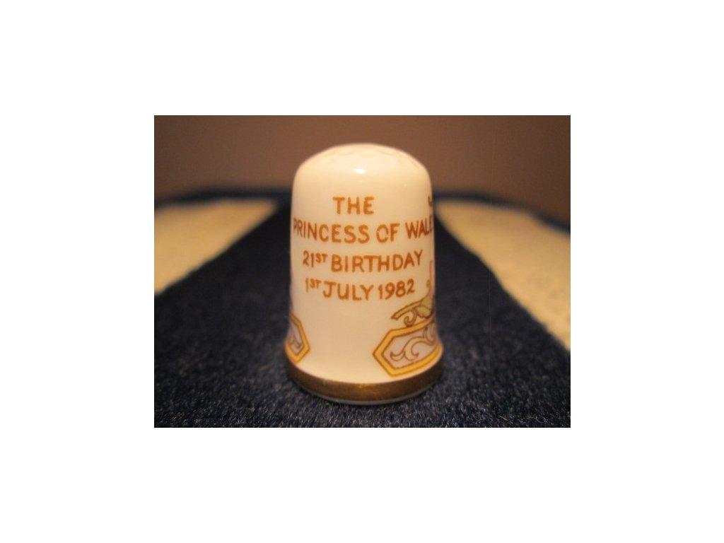 Sběratelský náprstek - Caverswall England - Princezna Diana 21. narozeniny