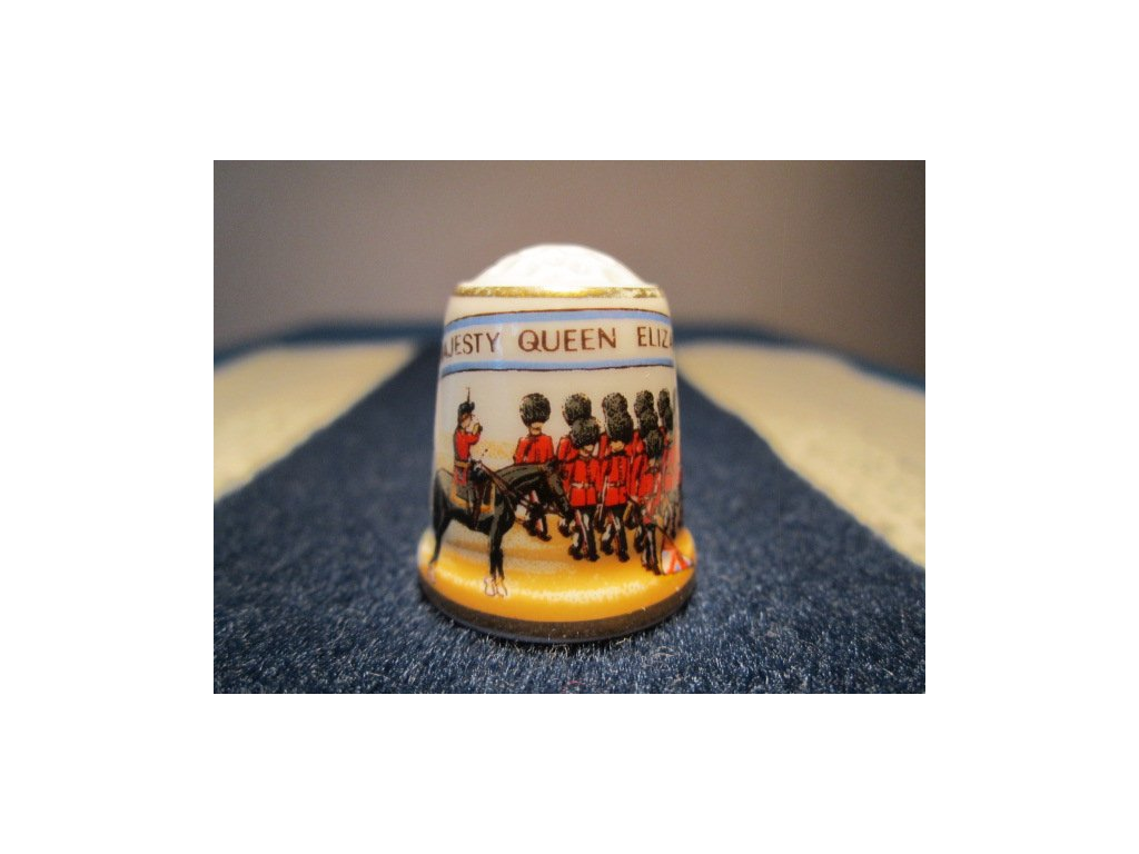 Sběratelský náprstek - Sutherland England, Královna Alžběta II. - 60. narozeniny