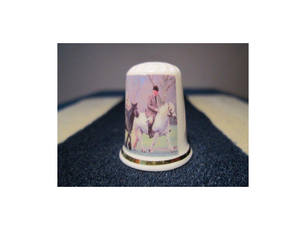 Sběratelský náprstek - Královna Alžběta II. 90 let, vyjížďka na koních