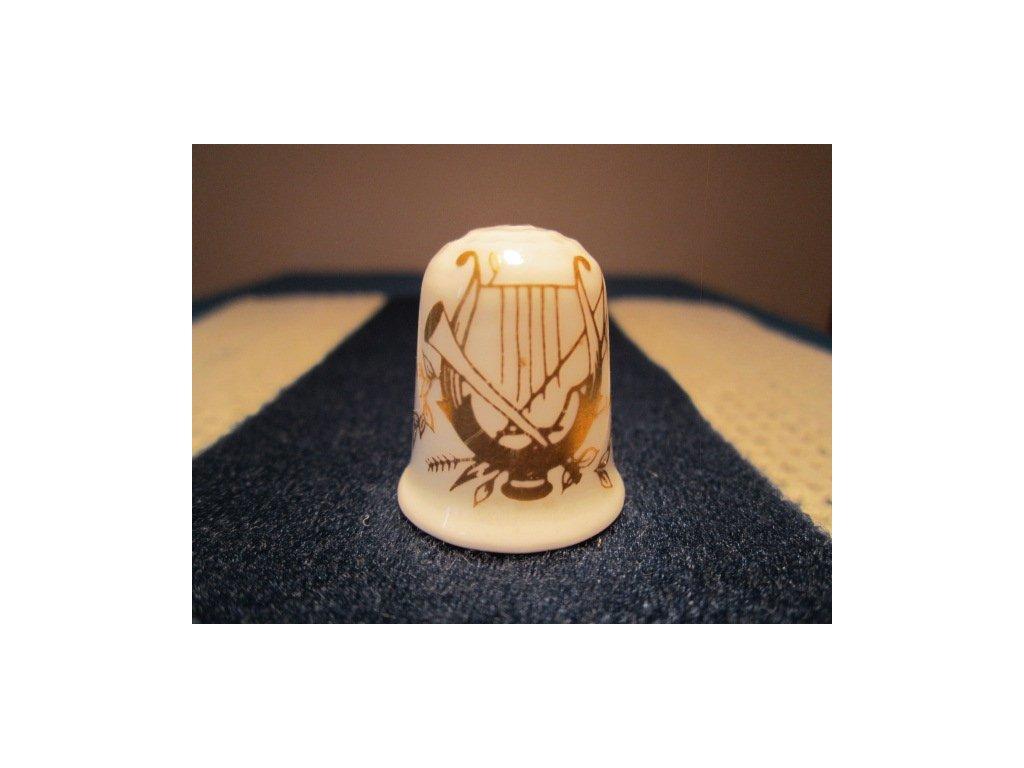 Sběratelský náprstek - Coalport England - Golden Harp