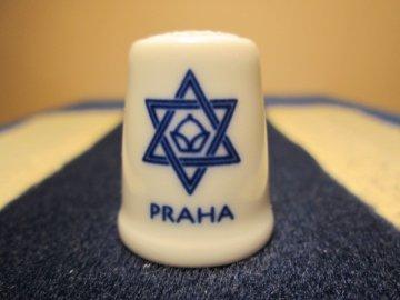Sběratelský náprstek - Židovská obec v Praze - znak, Český porcelán Dubí