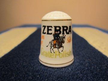 Sběratelský náprstek - Franklin Porcelain USA - Reklama 1982, ZEBRA - čistič