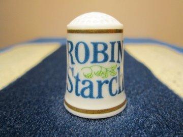 Sběratelský náprstek - Franklin Porcelain USA - Reklama 1982, Robin Starch - škrob