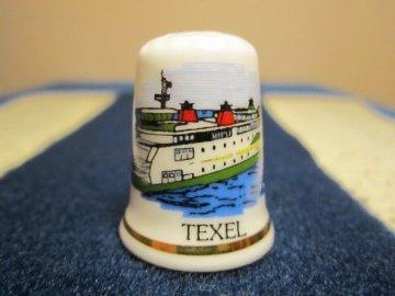 Sběratelský náprstek - Holandsko - Texel, ostrov (největší z Fríských ostrovů), s lodí