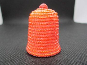 Sběratelský náprstek - 3D s lososovými korálky, podšitý, ruční výroba