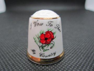 Sběratelský náprstek - I Vow To Thee My Country (Slibuji tobě, má země), hymnus z roku 1921, s vlčími máky