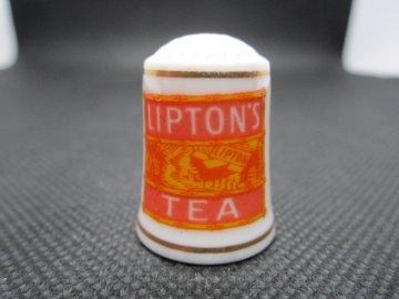 Sběratelský náprstek - Franklin Porcelain USA - Reklama 1980 - Lipton´s Tea, čaj
