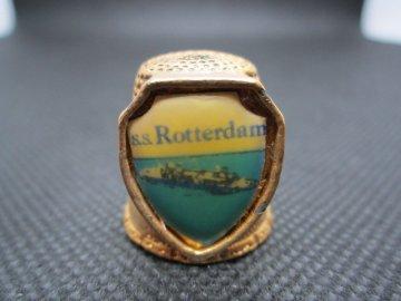 Sběratelský náprstek - 3D Holandsko - S.S. Rotterdam, výletní loď, žlutý kov, masivní, zdobený