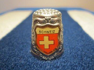 Sběratelský náprstek - 3D Švýcarsko - znak, bílý kov