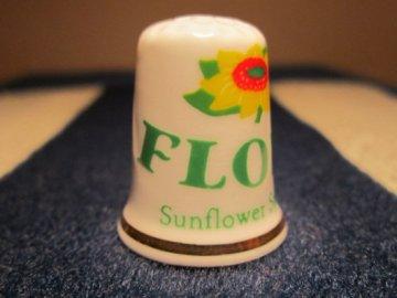 Sběratelský náprstek - Reklama - Flora, slunečnicový olej, Cottage Thimbles