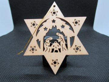 Sběratelský náprstek - Dřevěná vánoční ozdoba - Svatá rodina, Betlém