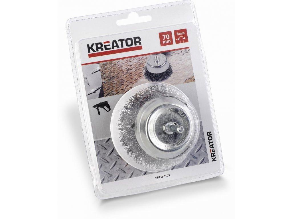 Ocelový kartáč pro vrtačky 70mm Kreator KRT150103
