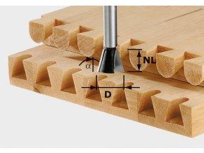 Festool - Svlaková/ozubová fréza HS stopka 8 mm HS D14,3/13,5/15GRAD o.R(490991)