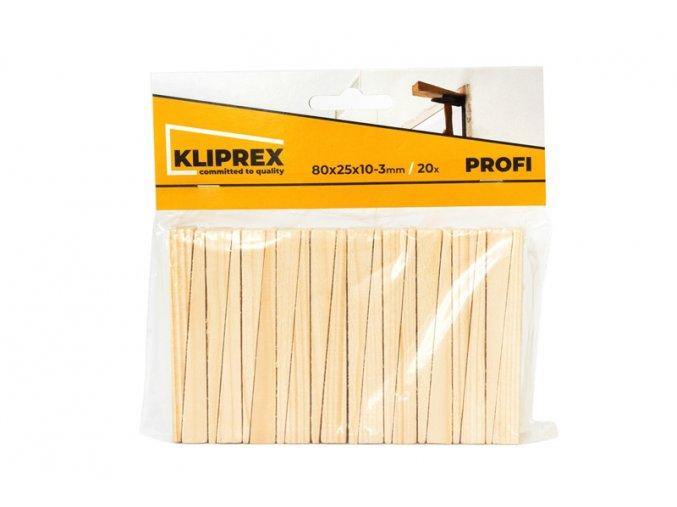 Klínky dřevěné SM 20ks/80x25x10-3