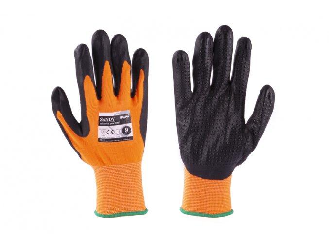 """Rukavice SANDY 9"""" oranžovo-černé"""
