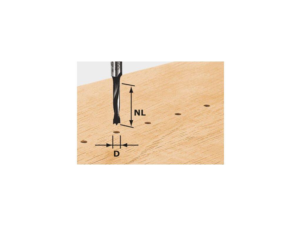 Kolíkový vrták HW, stopka 8 mm HW D3/16